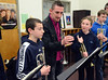 Trumpet player Jay Webb gives instructions to middle school jazz band members during the Philly Big Band clinic at Pennfield Middle School on Wednesday January 15,2014. Photo by Mark C Psoras/The Reporter