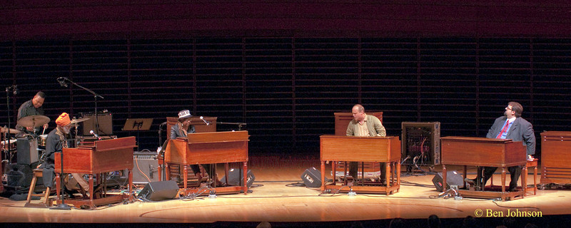 Dr. Lonnie Smith, Trudy Pitts, John Medeski and Joey D. Franceso performing together as part of A Jazz Organ Jam at the Kimmel Center for the Performing Arts in Philadelphia, Pa, April 30, 2010.