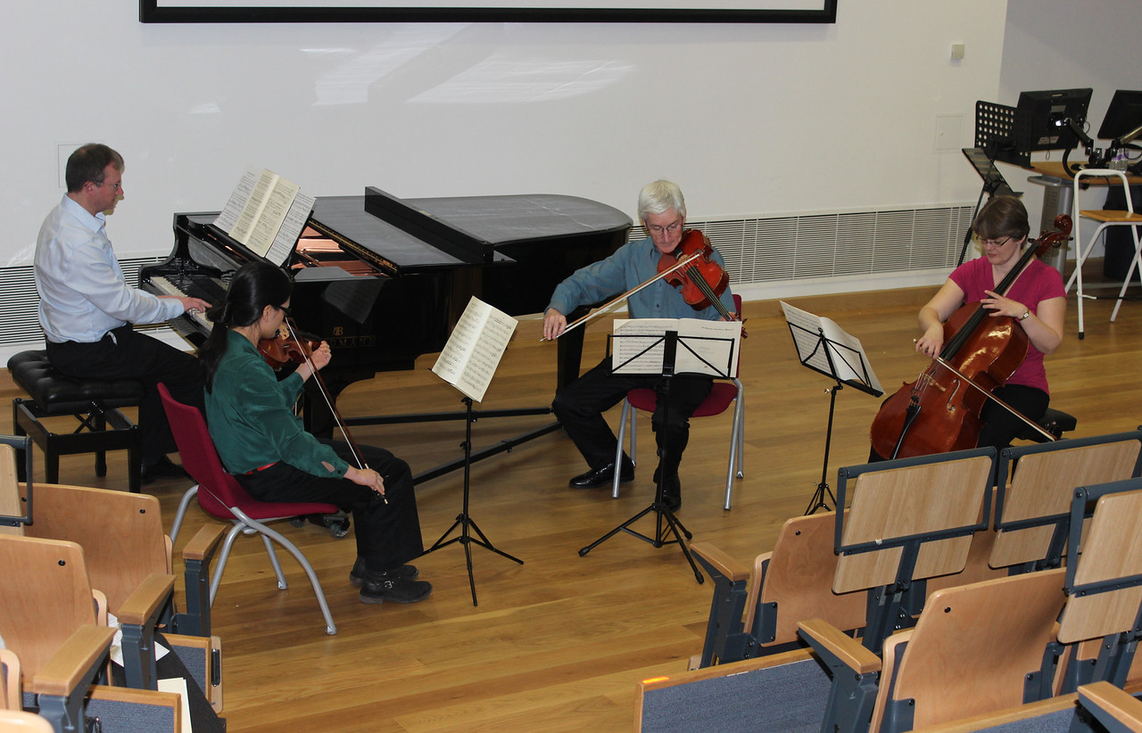 Playing with the Teresita piano quartet (Caroline Poon violin, Andrew Bellis viola, Christina Leigh 'cello and Patrick Lee piano) at Bournemouth University to keep the audience entertained while the judges deliberated during the Finals of the Westbourne Orchestra's Youth Concerto competition for 2012-2013.
