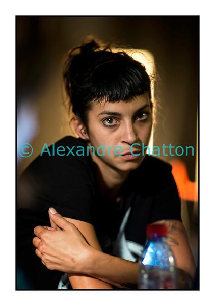 """Jeudi 5 juillet 2012, Montreux Jazz Festival: Karine Guignard, de La Gale, dans """"Café Voltage"""" sur Couleur 3."""