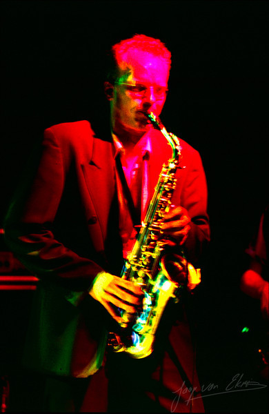 Saxafone player in the spotlights