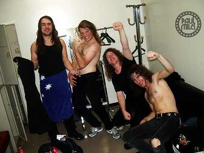 KAMIKAZE: Airbourne backstage in their Tokyo stadium dressing room minutes after their first-ever show in Japan, 2008.
