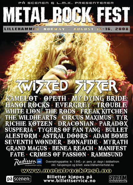 Poster for the Metal Rock Festival in Lillehammer, august 2008. It also appeared as an ad in Norwegian national newspaper Dagbladet, and as a full page ad in Scream Magazine. (Dee Snider photo ©Håkon Grav)