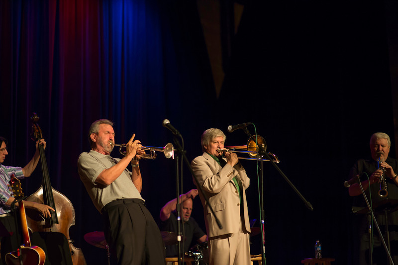L to R Theodore Sistrunk bass, Carl Saunders trumpet, Gary Hobbs drums, Scott Whitfield trombone, Rusty Higgins saxophone,