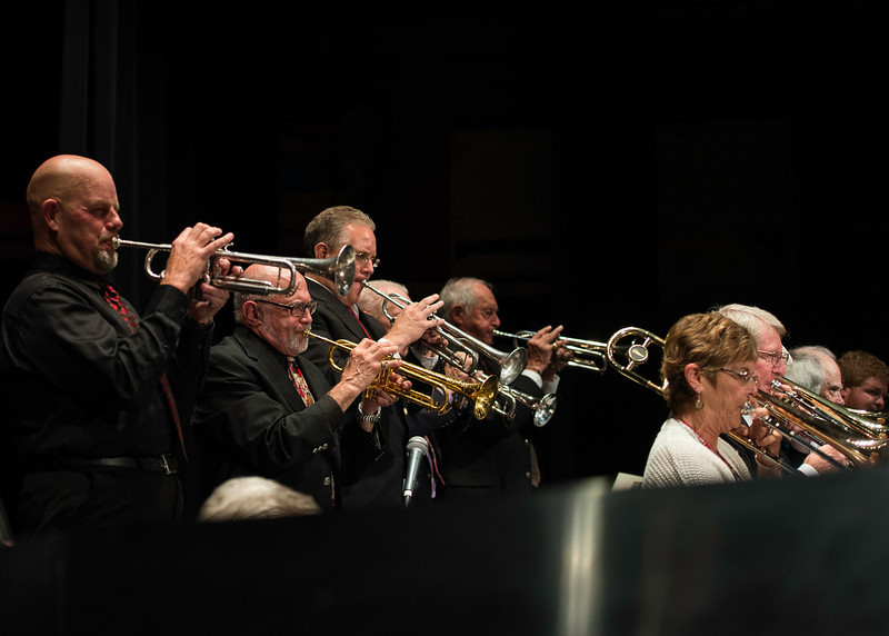 L to R Trumpets, Gary Hobbs, Mike Vax, Derek Young, Bill West, John Hafer, Trombones Peggy Vax, Bill Tole, Ben Apple, Calvin Audis