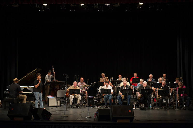 Renee Patrick on vocals with The Prescott Jazz Summit All-Star Big Band, during rehearsal for the Saturday night concert