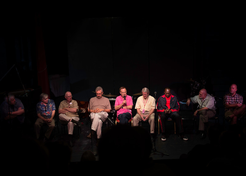 The panel discussion Saturday afternoon, L to R Rusty Higgins, Scott Whitfield, Jack Peterson, Carl Saunders, Kim Richmond, Bill Tole, Dennis Rowland, Mike Vax, Gary Hobbs