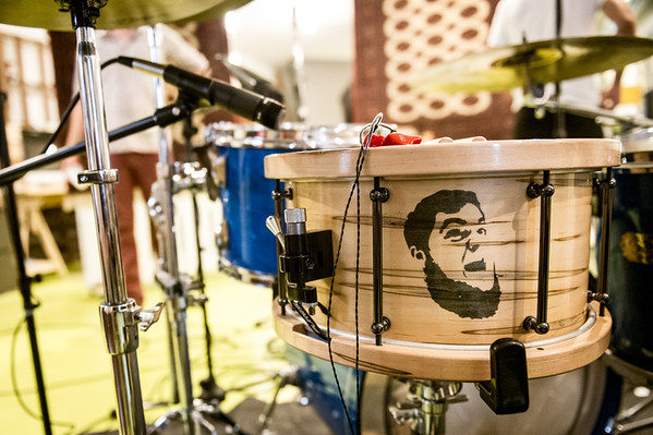 Mickey Holm's drum kit during a demo session for an upcoming Preson Phillips album on July 7, 2012 at FRNKLN STREET Studios in Tampa, Florida