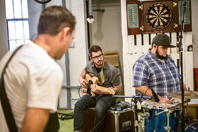 Nate Murray, Ashton Bjaranson, and Mickey Holm record demos with Preson Phillips for an upcoming album on July 7, 2012 at FRNKLN STREET Studios in Tampa, Florida