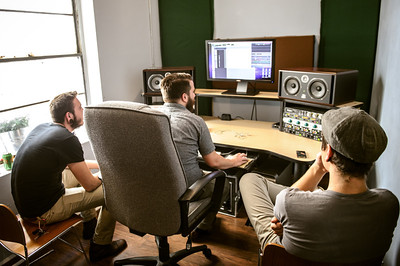Seth Purcell, Tim McTague, and Nate Lopez record demos for Preson Phillips and his band for an upcoming album on July 7, 2012 at FRNKLN STREET Studios in Tampa, Florida