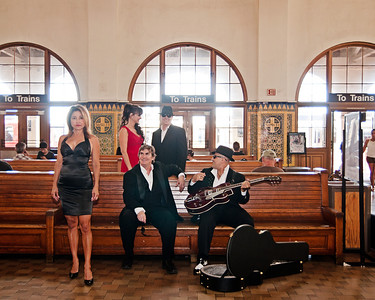 Promotional shots of the band Classic Chrome taken at the Santa Fe Train station in Down Town San Diego.