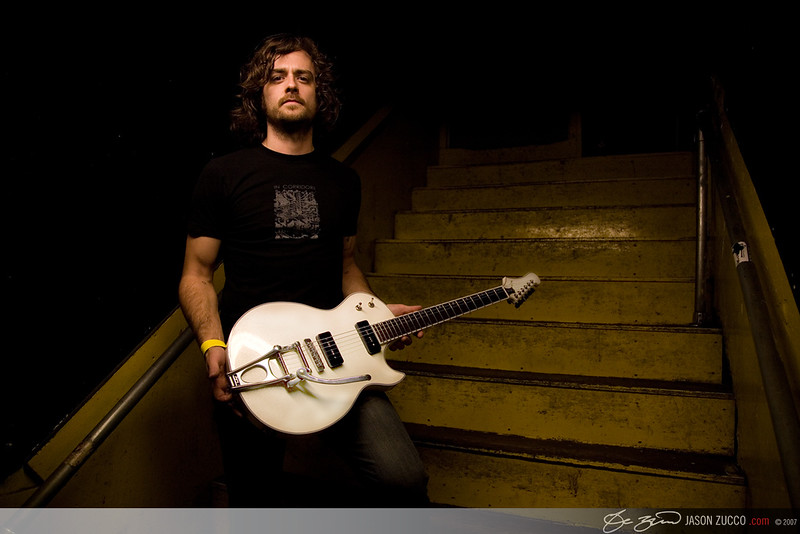 Minus the Bear guitarist and vocalist Jake Snider back stage at the Middle East rock club in Cambridge, MA.