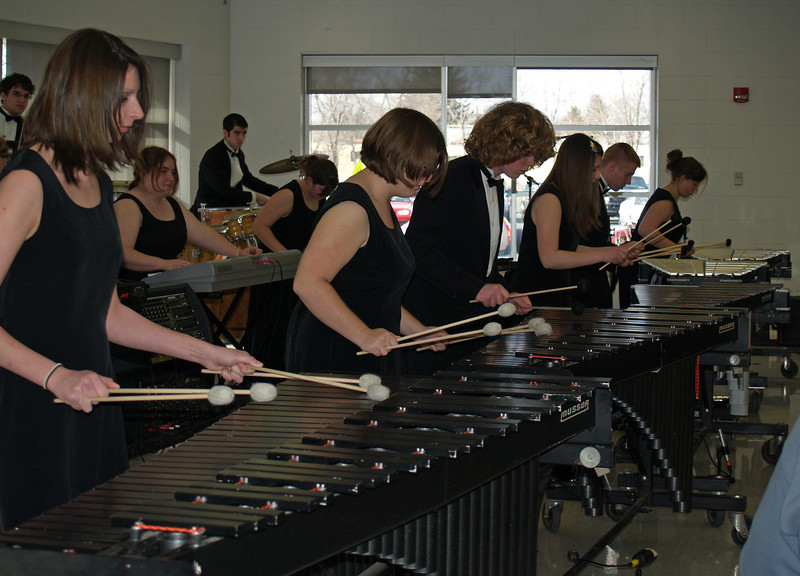 Indoor Drumline at QCSHS-  Seth on marimba in middle (annual Spaghetti Dinner event)