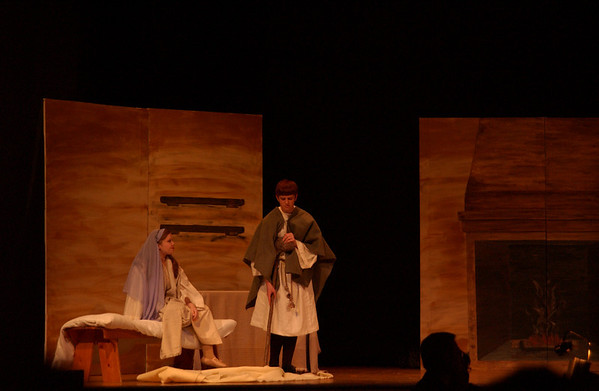 Maggie Montoney and Joel Bauman as Amahl and his mother