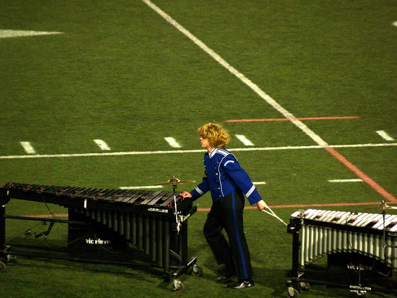 Seth pulling mallets-- QCHS Panther Marching Band at USSBA Championships, J. Birney Crum Stadium, Allentown
