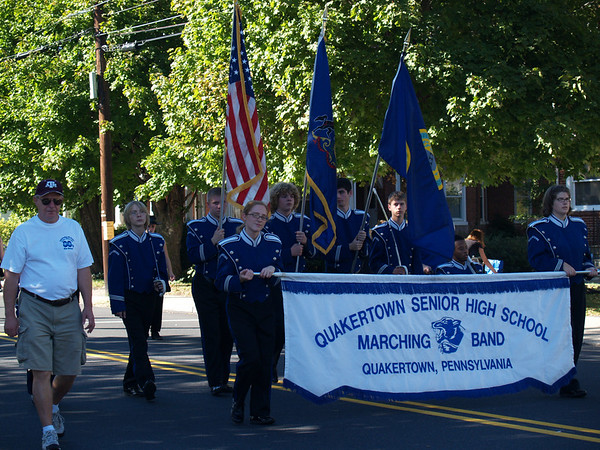 Marching in Halloween Parade '07 (Mallet players carry flags)