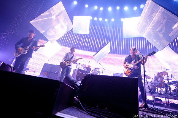Ed O'Brien, Jonny Greenwood, and Thom Yorke of Radiohead perform on February 29, 2012 at Tampa Bay Times Forum in Tampa, Florida