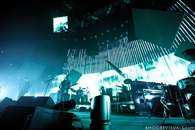 Ed O'Brien, Thom Yorke, Phil Selway, Colin Greenwood, and Jonny Greenwood of Radiohead perform on February 29, 2012 at Tampa Bay Times Forum in Tampa, Florida