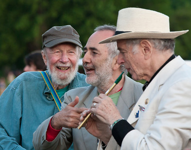Pete Seeger, Raffi and David Amram warming up for the closing ceremony of the 2013 Clearwater Festival.