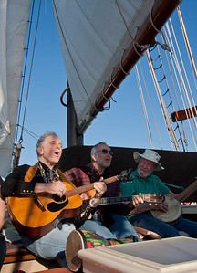 David Amram, Raffi and Pete Seeger jamming aboard the Hudson River Sloop Clearwater, 2013.