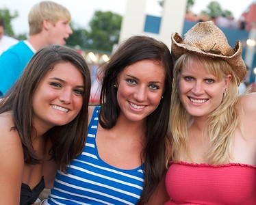 Carlie Hogan, Jordyn Nandle and Deidra Brown of N. KY at Riverbend on Friday for Rascal Flatts