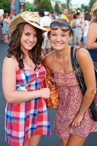 Kayla Markus and Madi Frey from UC at Riverbend on Friday for Rascal Flatts