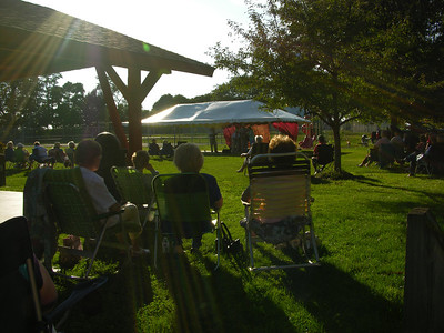 The crowd watches traditional bluegrass band Raven Hill perform in Honey Brook.