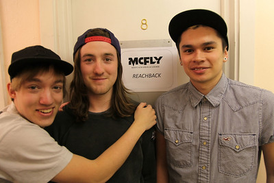 Tom McHenry, Joe Williams and Craig Chin of Reachback outside their dressing room on the McFly 2012 tour.