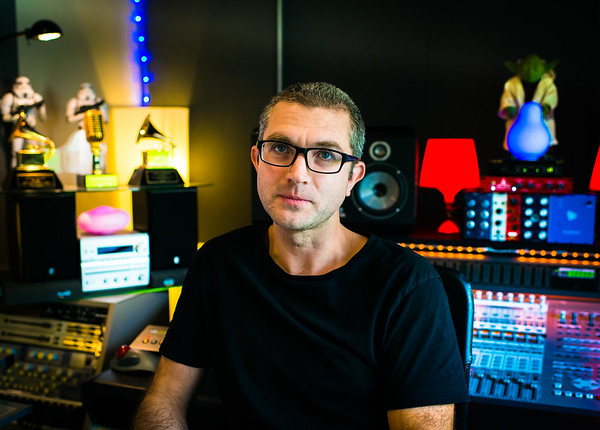 Mix Engineer Adrian Bushby in his recording studio, London