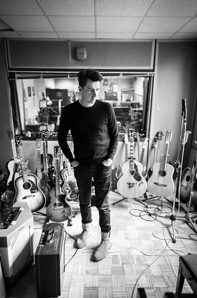 Bernard Butler in the recording studio about to record a guitar part
