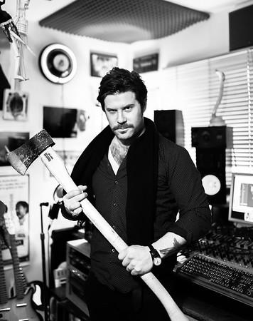 Record producer Ed Harcourt at his recording studio, London