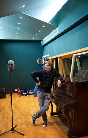 Record producer Flood (aka Mark Ellis) pictured with Neumann Dummy Head microphone in the recording studio PUBLISHED:  Resolution Magazine (Cover), UK