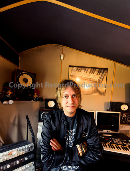 Record producer Jake Gosling in his recording studio