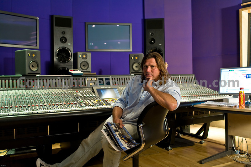 """Kevin Shirley, record producer, at Metropolis Studios, London, England.  Watch our exclusive video feature with Kevin here <br /> <a href=""""http://www.recordproduction.com/kevin-shirley-record-producer.htm"""">http://www.recordproduction.com/kevin-shirley-record-producer.htm</a><br /> <br /> The eagle eyed will spot that Kevin is holding Resolution magazine with Mike Oldfield on the cover.  See our Mike Oldfield gallery....<br /> PUBLISHED:  Resolution Magazine (Cover), UK"""