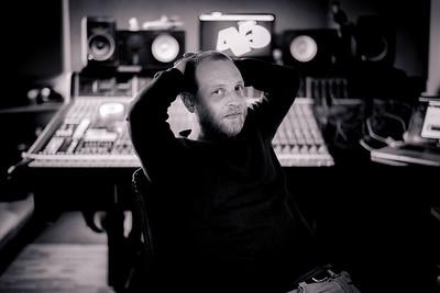 Producer Matty Benbrook at his recording studio in London