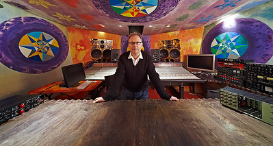 Top recording and mixing engineer (producer and musician) Phil Harding wide angle shot at Strongroom Studios, London, UK   Watch the Phil Harding video interviews:  http://www.recordproduction.com/phil_harding.htm