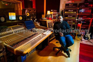 Rock music producer Romesh Dodangoda at Longwave Studios, Cardiff, UK