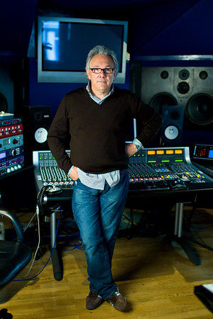 Trevor Horn standing in front of his SSL AWS 900+ console at SARM Studios, Studio 4. Watch our exclusive video interview with Trevor Horn here:  http://www.recordproduction.com/trevor-horn-record-producer.html