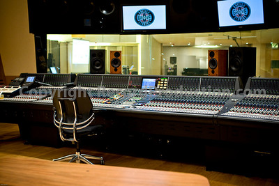 British Grove Studios main control room.  Control room featuring Neve 88R mixing console at Mark Knopfler's London recording studio complex