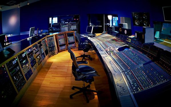 A distorted view of the huge SSL at Hookend Manor Studios, UK