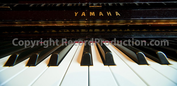 Yamaha upright piano, close up of the keyboard