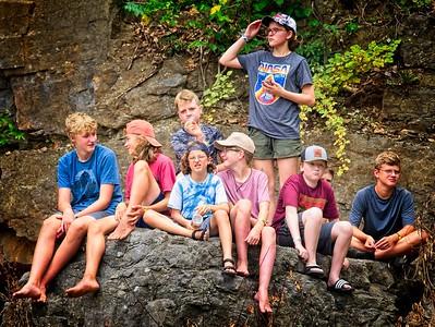 Kids on the rocks.