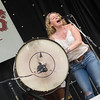 Amy with Levon's bass drum.