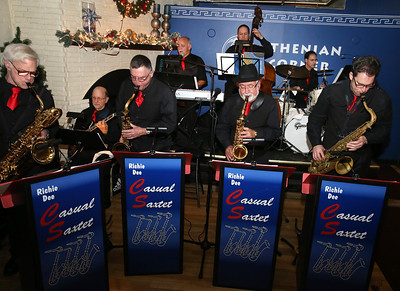 Richie Dee's Casual Saxtet plays jazz at Athenian Corner restaurant for Sun Santa donations