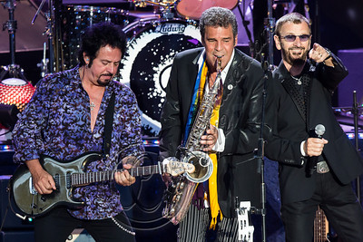 LOS ANGELES, CA - JULY 21:  (L-R) Musicians Steve Lukather, Mark Rivera and Ringo Starr perform at The Greek Theatre on July 21, 2012 in Los Angeles, California.  (Photo by Chelsea Lauren/WireImage)