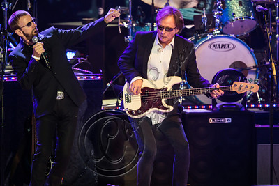 LOS ANGELES, CA - JULY 21:  Musicians Ringo Starr (L) and Richard Page perform at The Greek Theatre on July 21, 2012 in Los Angeles, California.  (Photo by Chelsea Lauren/WireImage)