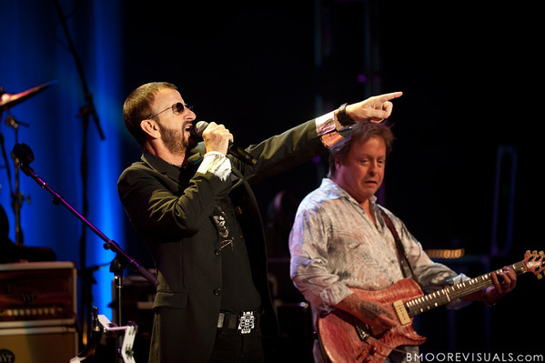 Ringo Starr and Rick Derringer perform with the All-Starr Band at Ruth Eckerd Hall in Clearwater, Florida on July 13, 2010. The band also features Wally Palmar, Edgar Winter, Gary Wright, Richard Page, and Gregg Bissonette.