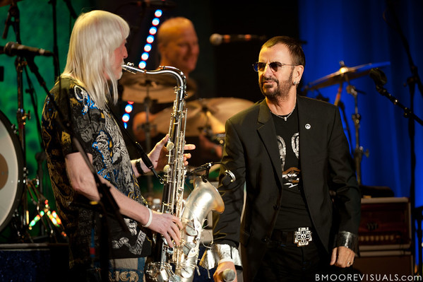 Ringo Starr and Edgar Winter perform with the All-Starr Band at Ruth Eckerd Hall in Clearwater, Florida on July 13, 2010. The band also features Wally Palmar, Rick Derringer, Gary Wright, Richard Page, and Gregg Bissonette.