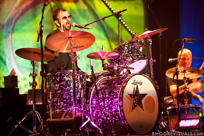 Ringo Starr performs with His All-Starr Band as Gregg Bissonette looks on at Ruth Eckerd Hall in Clearwater, Florida on July 13, 2010. The band also features Wally Palmar, Rick Derringer, Edgar Winter, Gary Wright, Richard Page, and Gregg Bissonette.