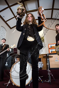 """LOS ANGELES, CA - JULY 30:  ((EXCLUSIVE COVERAGE)) Vocalist Jay Buchanan of Rival Sons poses at the """"Keep On Swinging"""" music video shoot on July 30, 2012 in Los Angeles, California.  (Photo by Chelsea Lauren/WireImage)"""